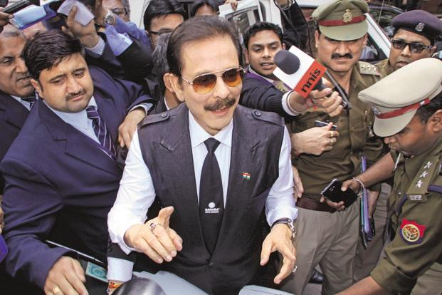 Sahara Group chairman Subrata Roy (centre) has been in judicial custody since 4 March 2014 . Photo: HT