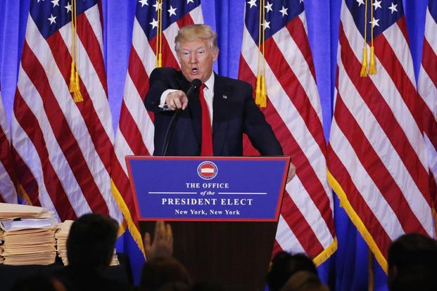 US President-elect Donald Trump speaks during a news conference in the lobby of Trump Tower in Manhattan, New York, on Wednesday. Photo: Reuters