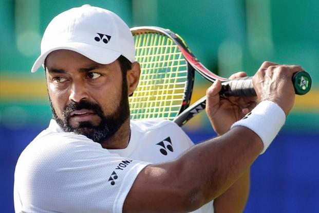 Leander Paes at a practice session ahead of the ATP Chennai Open. Photo: PTI