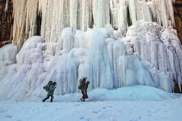 The frozen waterfall on the approach to Nyerak. Photos: Sankar Sridhar