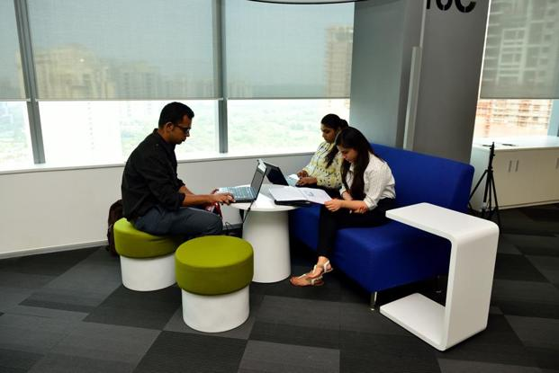 One of many collaborative workspaces for informal and formal exchanges.