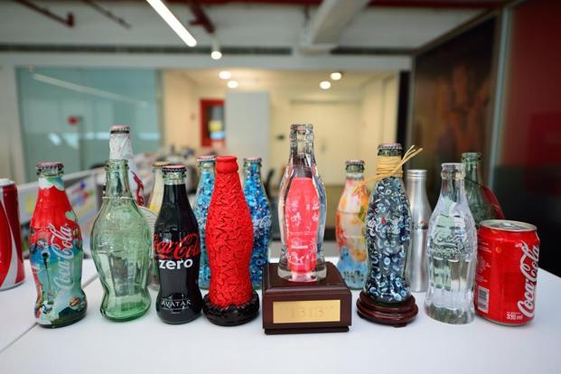 Branded bottles as decorative items.