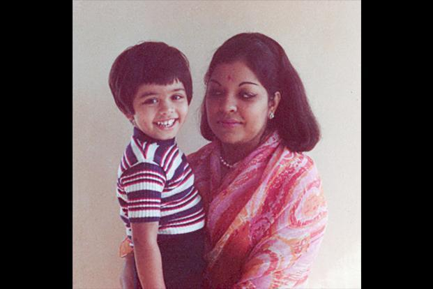 A young Johar with his mother Hiroo Johar.