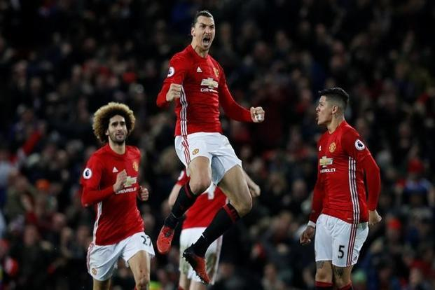 Manchester United's Zlatan Ibrahimovic celebrates scoring their first goal against Liverpool in Premier League. Photo: Reuters