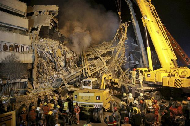 At least 30 firefighters killed in Tehran high-rise collapse