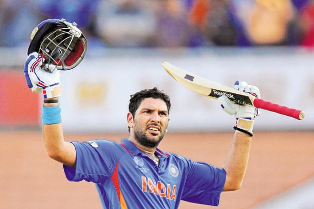 Cricketer Yuvraj Singh celebrates scoring his century during India's ICC Cricket World Cup group B match against the West Indies in Chennai 20 March 2011. Photo: Reuters