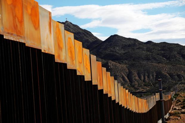 A General View Shows A Newly Built Section Of The US Mexico Border Wall At