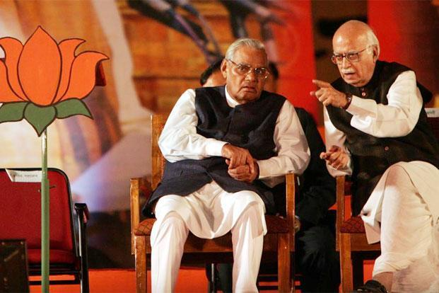 Atal Bihari Vajpayee (left) and L.K. Advani at a BJP Convention in 2005. Photo: Hindustan Times