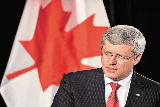 Former Canada PM Stephen Harper gave a keynote address on foreign policy in New Delhi, a day before the inauguration of US President Donald Trump. Photo: Bloomberg