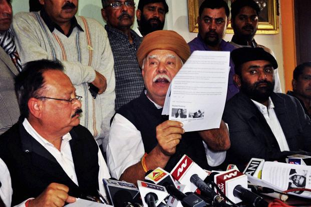 Rajput Karni Sena leader Lokendra Singh Kalvi (centre) with others addressing a press conference. The RKS is accused of assaulting filmmaker Sanjay Leela Bhansali on the set of 'Padmavati' in Jaipur on Friday. Photo: PTI
