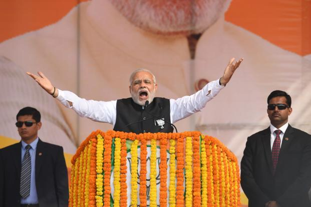 Prime Minister Narendra Modi at an election rally in Ghaziabad, Uttar Pradesh, on Tuesday. Photo: AFP