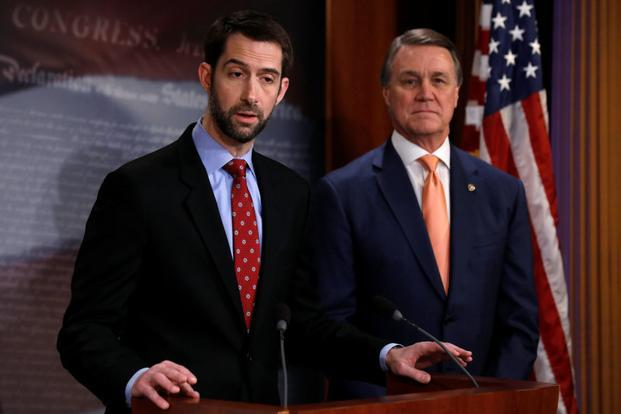 US senators Tom Cotton (left ) and David Perdue unveil legislation, aimed at curbing legal immigration by halving the number of legal immigrants admitted into the United States, in Washington on Tuesday. Photo: Reuters