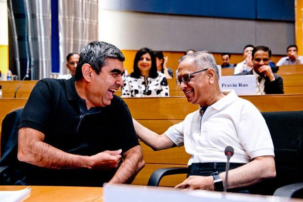 Infosys co-founder N.R. Narayana Murthy and chief executive officer Vishal Sikka. Photo: Aniruddha Chowdhury/ Mint