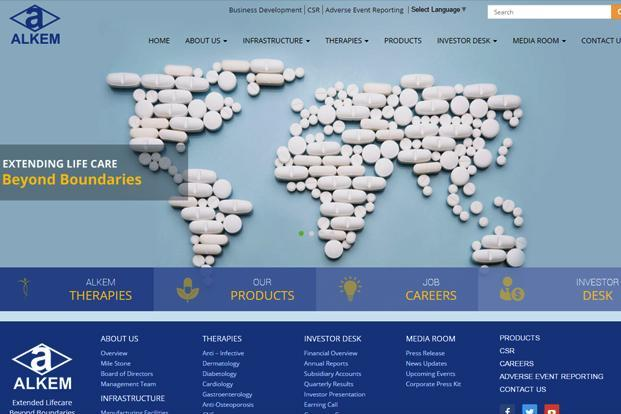 A screen grab of Alkem Laboratories's website.