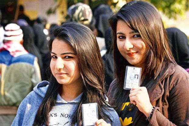 Young women cast their vote in the 2016 Assam polls.