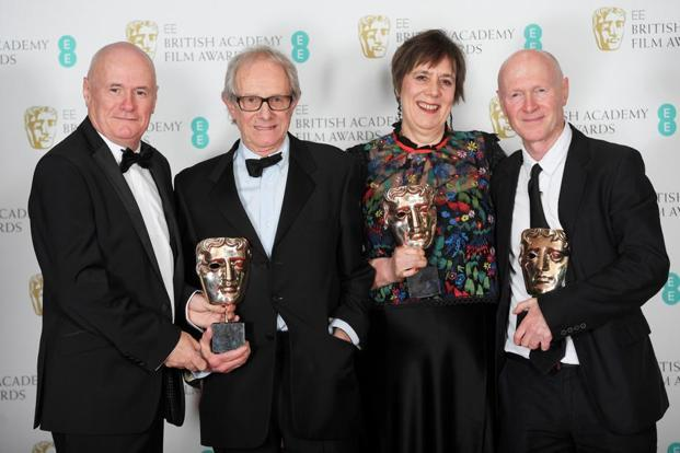 "(Second left) Ken Loach's 'I, Daniel Blake', won the outstanding British film award. 80-year-old Loach said filmmakers stand ""with the people"" and took aim at the government."