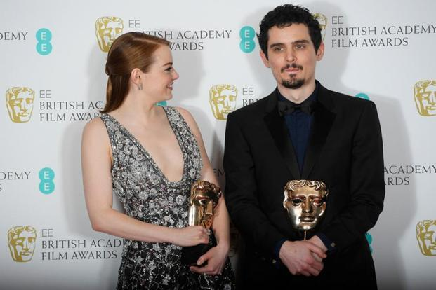 "Accepting the award for best director—beating off competition from the likes of Ken Loach and Tom Ford—Damien Chazelle (right) said it was an ""incredible honour"" and a pleasure to be there along with those behind the film."