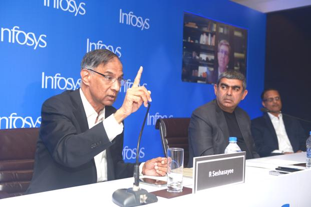 Infosys chairman R. Seshasayee (left) dismissed any talk of negotiation that has brought, what many believe, a temporary truce between founders and the Infosys board led by CEO Vishal Sikka (right). Photo: Abhijit Bhatlekar/Mint