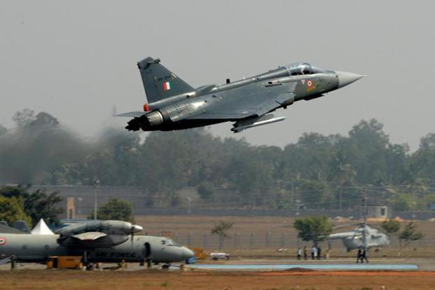Indian Air Force's Light Combat aircraft Tejas Fighter jets at the air show on Tuesday. The highlight of the show at the city's Yelahanka Air Force Station will be fighter jets that make up a large part of the 72 aircraft being showcased.