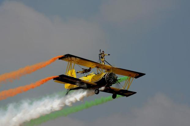 Skycat—Scandinavian Air Show—aerobatics teams performing at the 11th edition of Aero India, Bengaluru on Tuesday. Photos: Hemant Mishra/Mint.