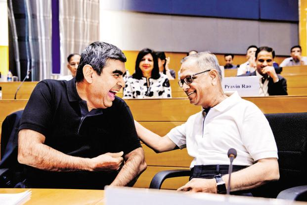 Infosys CEO Vishal Sikka (left) and Infosys founder N.R. Narayana Murthy. Photo: Aniruddha Chowdhury/Mint