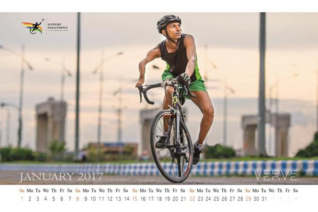 Cyclist and athlete Ujjwal Ghosh on the CWF calendar.