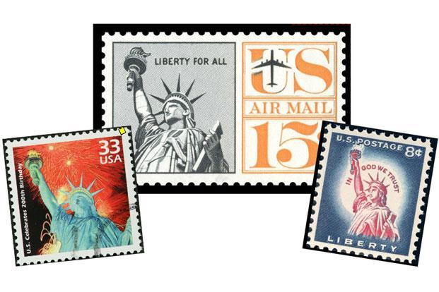 American stamps showing the Statue of Liberty through the years.