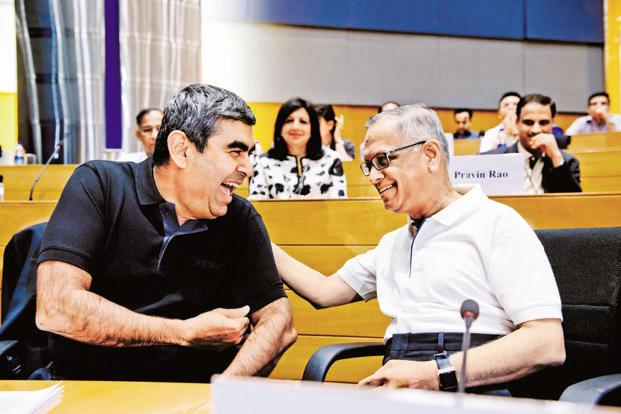 Infosys founder NR Narayana Murthy and CEO Vishal Sikka. Photo: Aniruddha Chowdhury/Mint