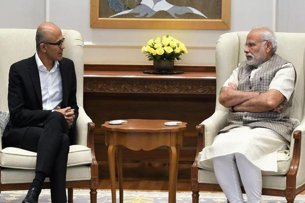 Satya Nadella, who on Tuesday met Prime Minister Narendra Modi, said Microsoft will soon launch Skype with Aadhaar authentication using its Stack cloud platform. Photo: AFP via PIB
