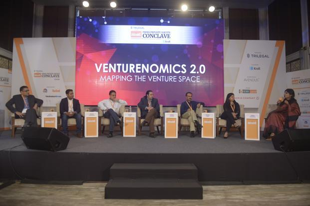 (From left) Alok Bardiya, director of Cisco Investments; Anand Prasanna, managing partner, Iron Pillar; Avnish Bajaj, founder and MD, Matrix Partners India; Karan Sharma, director, Avendus Capital; Prashanth Prakash, partner, Accel Partners; Nupur Garg, regional lead, South Asia, private equity funds, IFC; and Shrija Agrawal, national deals editor, Mint, at the panel discussion in Mumbai on Thursday. Photo: Abhijit Bhatlekar/Mint