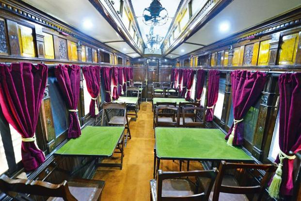 The Viceregal dining car at the National Rail Museum in New Delhi. Photo: Priyanka Parashar/Mint