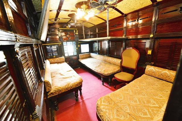 The saloon used by the maharajas of Bhavnagar and Mysore, at the National Rail Museum.. Photo by Priyanka Parashar/Mint