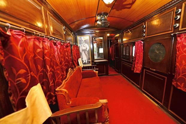 The saloon used by the maharajas of Bhavnagar and Mysore, at the National Rail Museum. Photo by Priyanka Parashar/Mint