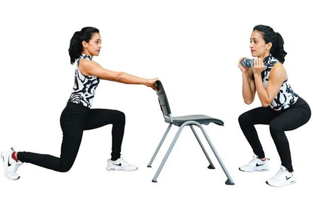 Lunges (left); and weighted squats.