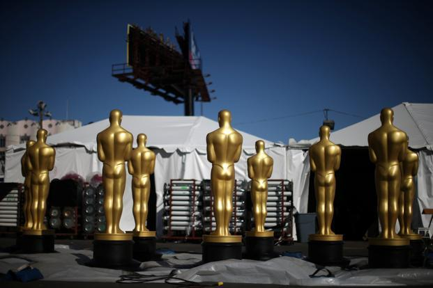 Freshly-painted Oscar statues sit outside the Dolby Theatre as preparations continue for the 89th Academy Awards in Hollywood, Los Angeles on Thursday. Photo: Reuters