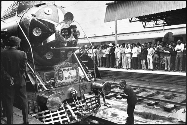 Steam engines decorated with different themes for Railway Beauty Contest at New Delhi railway station in November 1976. Photo: HT