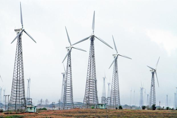 India wind power tariffs fell below Rs3.46 per kWh in the 1 GW SECI tender for which a reverse auction was conducted Thursday. Photo: Bloomberg