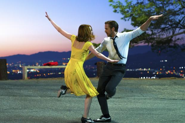 Ryan Gosling (right) and Emma Stone in a scene from, 'La La Land.' The film is nominated for an Oscar for best picture. Photo: AP