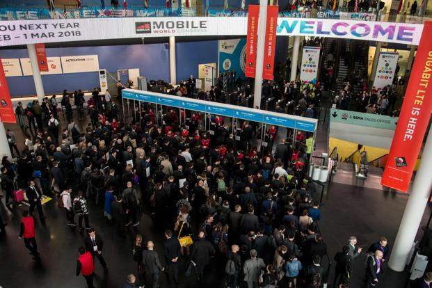 Crowds at Day 1 of Mobile World Congress (MWC 2017) in Barcelona. Photo: AFP