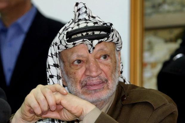 A photo of late Palestinian leader Yasser Arafat : AFP