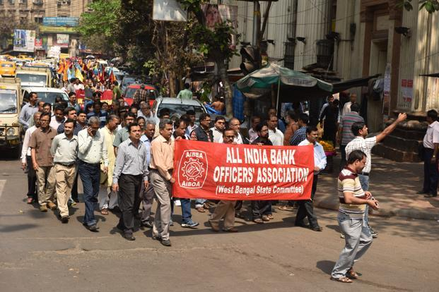 Bank employees demonstrate in Kolkata on Tuesday. Photo: Indranil Bhoumik/Mint