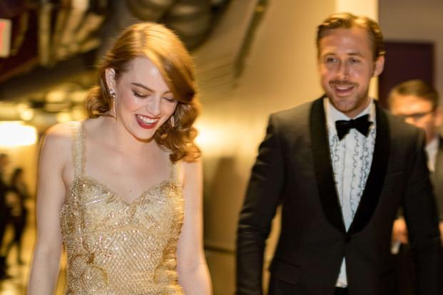 Actor Ryan Gosling (right) and actress Emma Stone, winner of Best Actress for 'La La Land', backstage during the 89th Annual Academy Awards at Hollywood & Highland Center in Los Angeles on Sunday. Photo: AFP