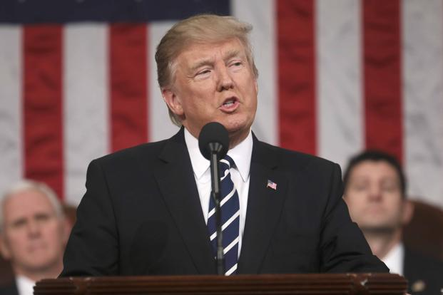 President Donald Trump during his US Congress speech on Tuesday. The Kansas shooting last week claimed the life of Indian engineer Srinivas Kuchibhotla and injured two others in a likely hate crime. Photo: Reuters
