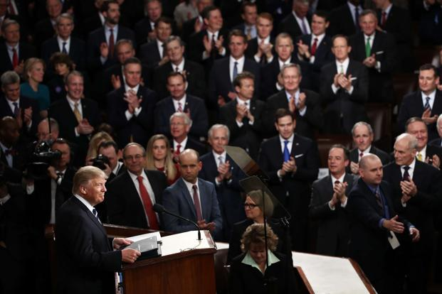 There was simply nothing in Donald Trump speech on Tuesday evening to break the deadlock Republicans in Congress are facing on health care. Photo: AFP