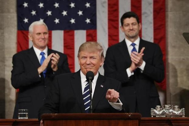 US President Donald Trump during his address to the US Congress from the floor of the House of Representatives in Washington. Photo: Reuters