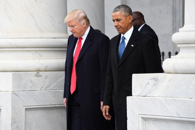 File photo. Donald Trump has often used his Twitter account to attack rivals and for years led a campaign alleging that Barack Obama was not born in the United States. He later retracted the allegation. Photo: Reuters