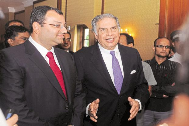Cyrus Mistry (left) and Ratan Tata. The two Mistry firms own a combined 18.4% of ordinary equity shares of Tata Sons, but their holding falls below 10% when preference shares are taken into account. Photo: Indranil Bhoumik/Mint