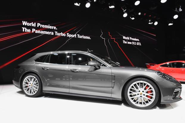 Porsche Panamera Sport Turismo at the Geneva Motor Show on Tuesday. Porsche is spending about €1 billion to produce the all-electric Mission E, the brand's first battery-only model that is expected to launch by 2020. Photo: AFP