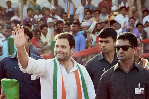 Rahul Gandhi during a rally ahead of phase 7 of the Uttar Pradesh assembly elections in Jaunpur on Sunday. Photo: PTI