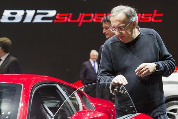 Fiat Chrysler CEO Sergio Marchionne at the Geneva Auto Show on Tuesday. Marchionne says merger of Peugeot maker PSA Group and GM's Opel threatens Volkswagen the most. Photo: AP